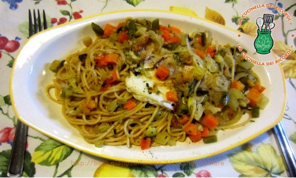 Spaghetti con filetti di orata e verdurine