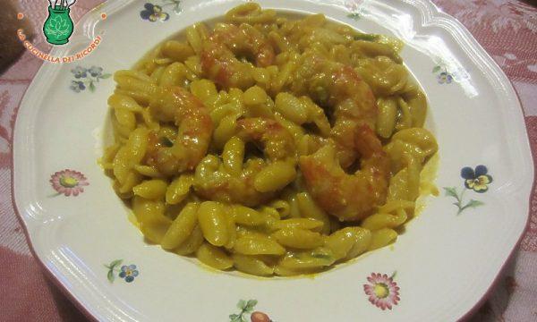 Malloreddus  Crema di zucca e Gamberoni  al Curry