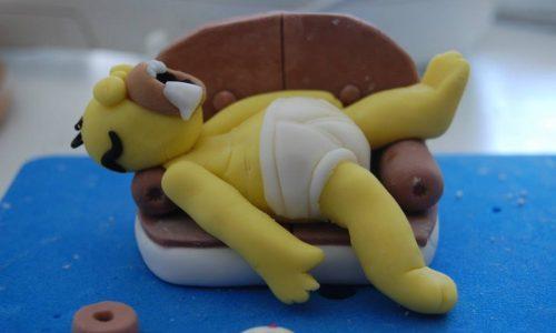 Homer Simpson dopo una mangiata di donuts