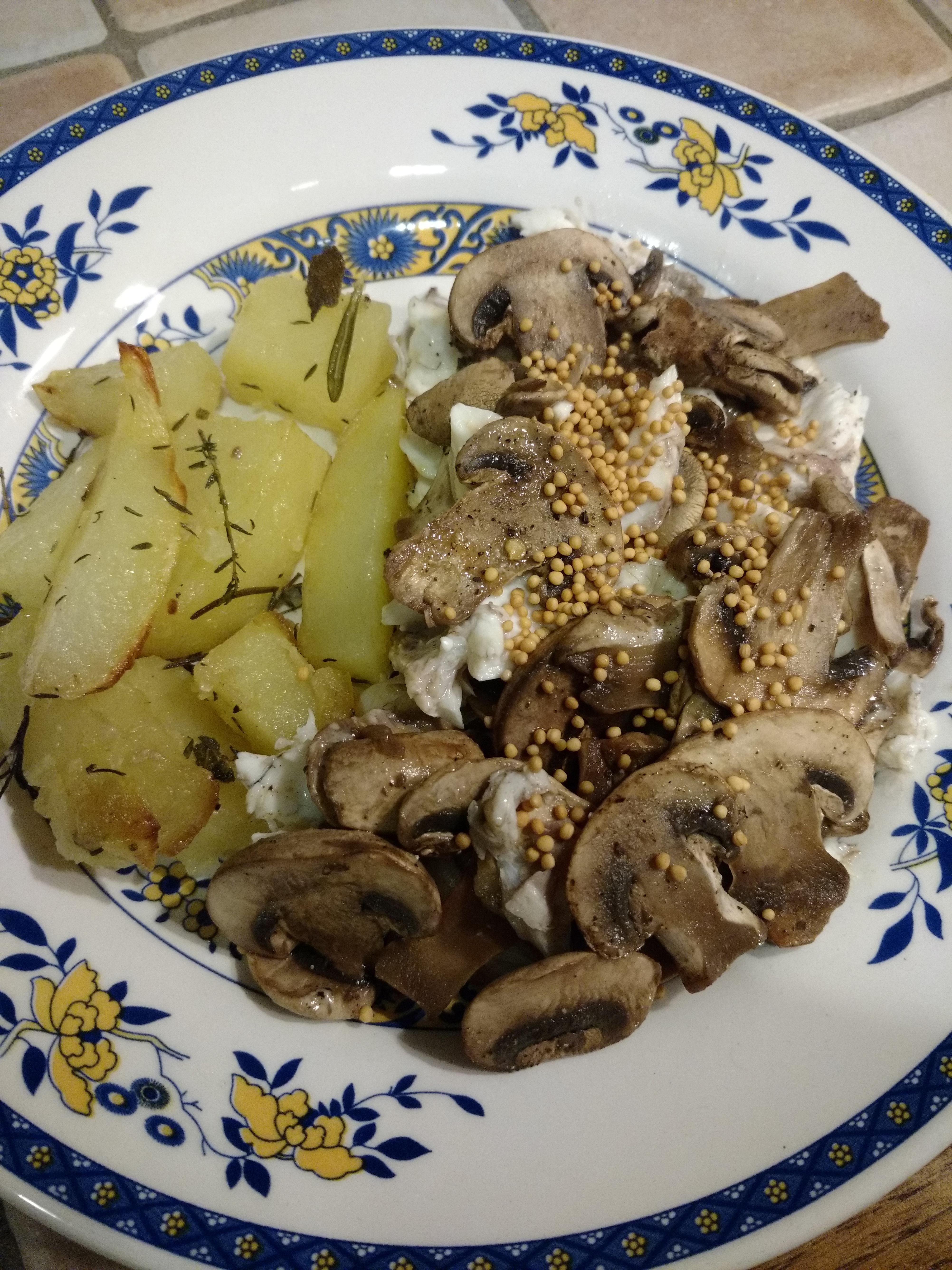 Orata con funghi champignon e senape