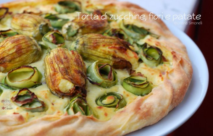 Torta di zucchine, fiori e patate