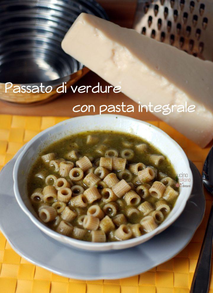 Passato di verdure e pasta integrale, senza soffritto