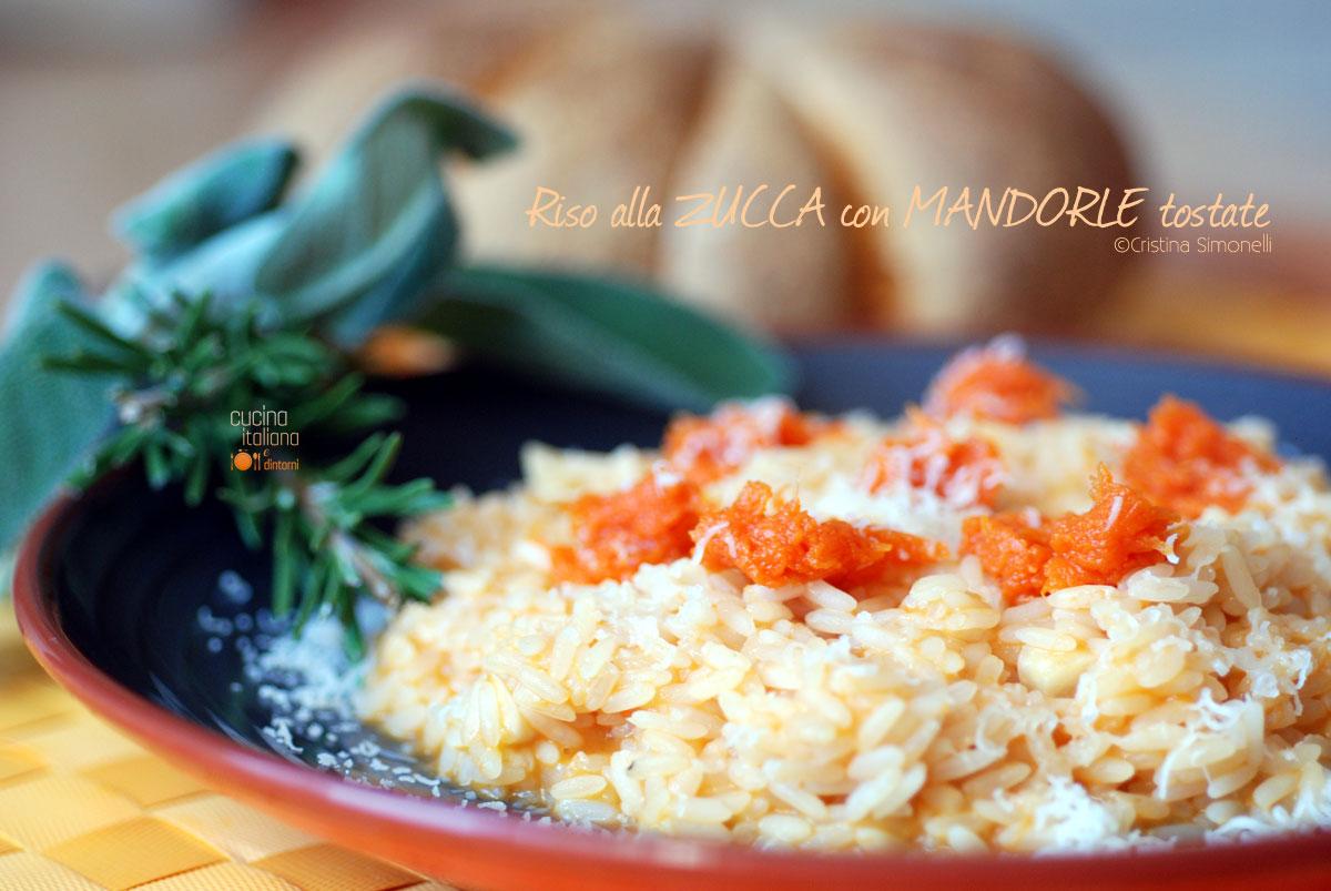 Risotto alla zucca con mandorle tostate, ricetta vegetariana