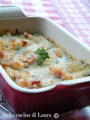 coste di bietole gratinata con mozzarella e pancetta - nella cucina di laura
