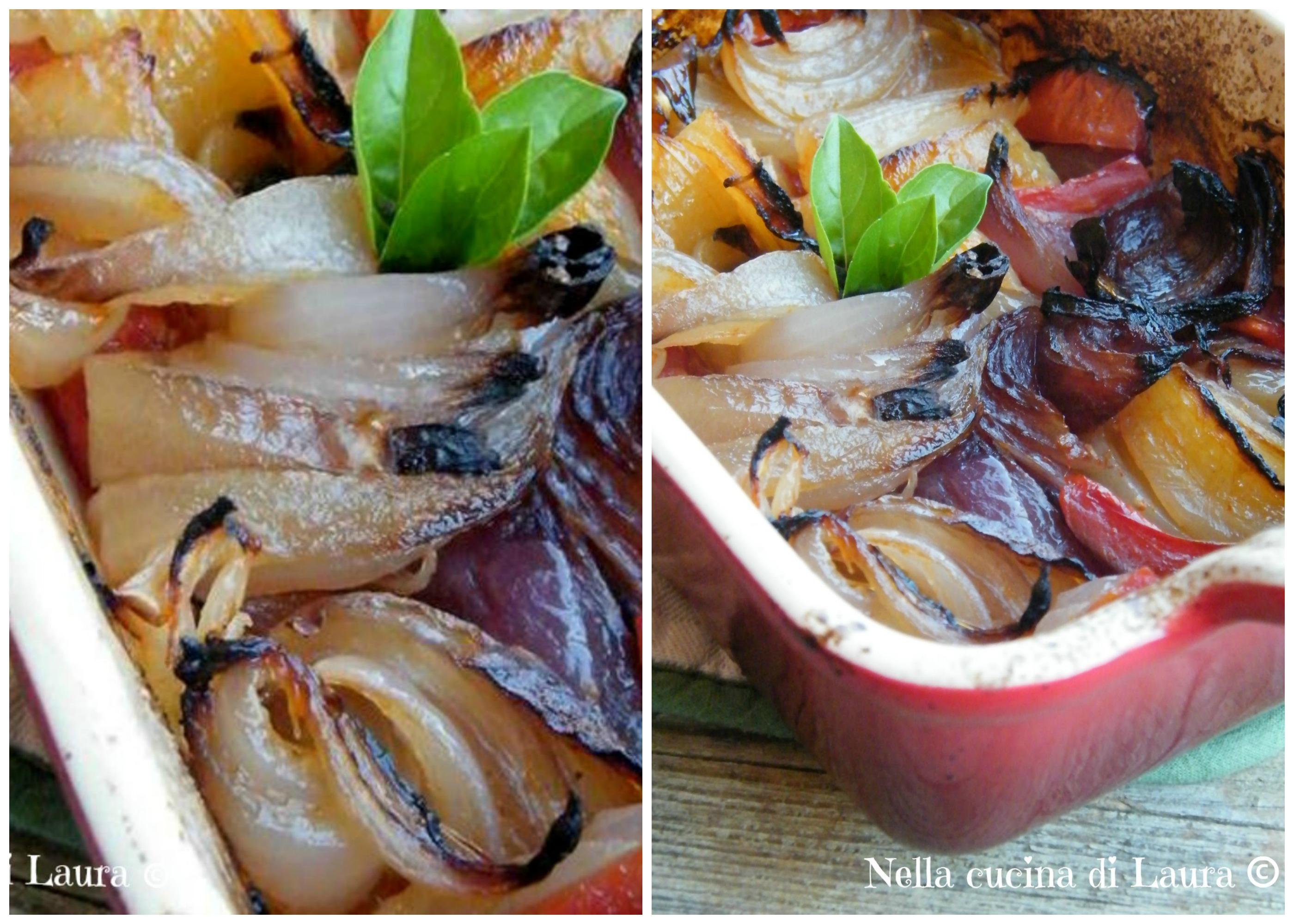 terrina al forno con cipolle e pomodori - nella cucina di laura