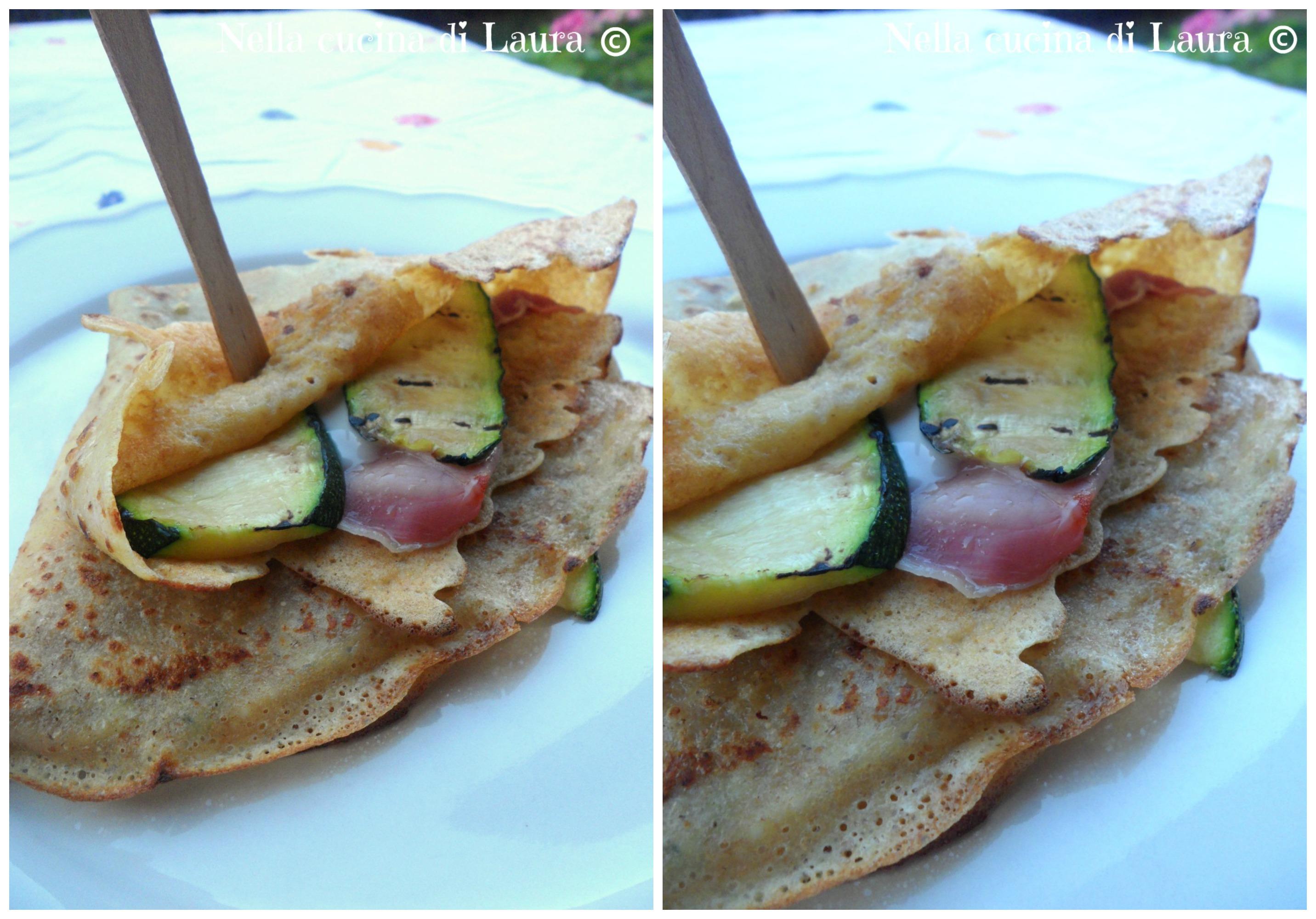 crepes salate con prosciutto cotto e zucchine grigliate - nella cucina di laura