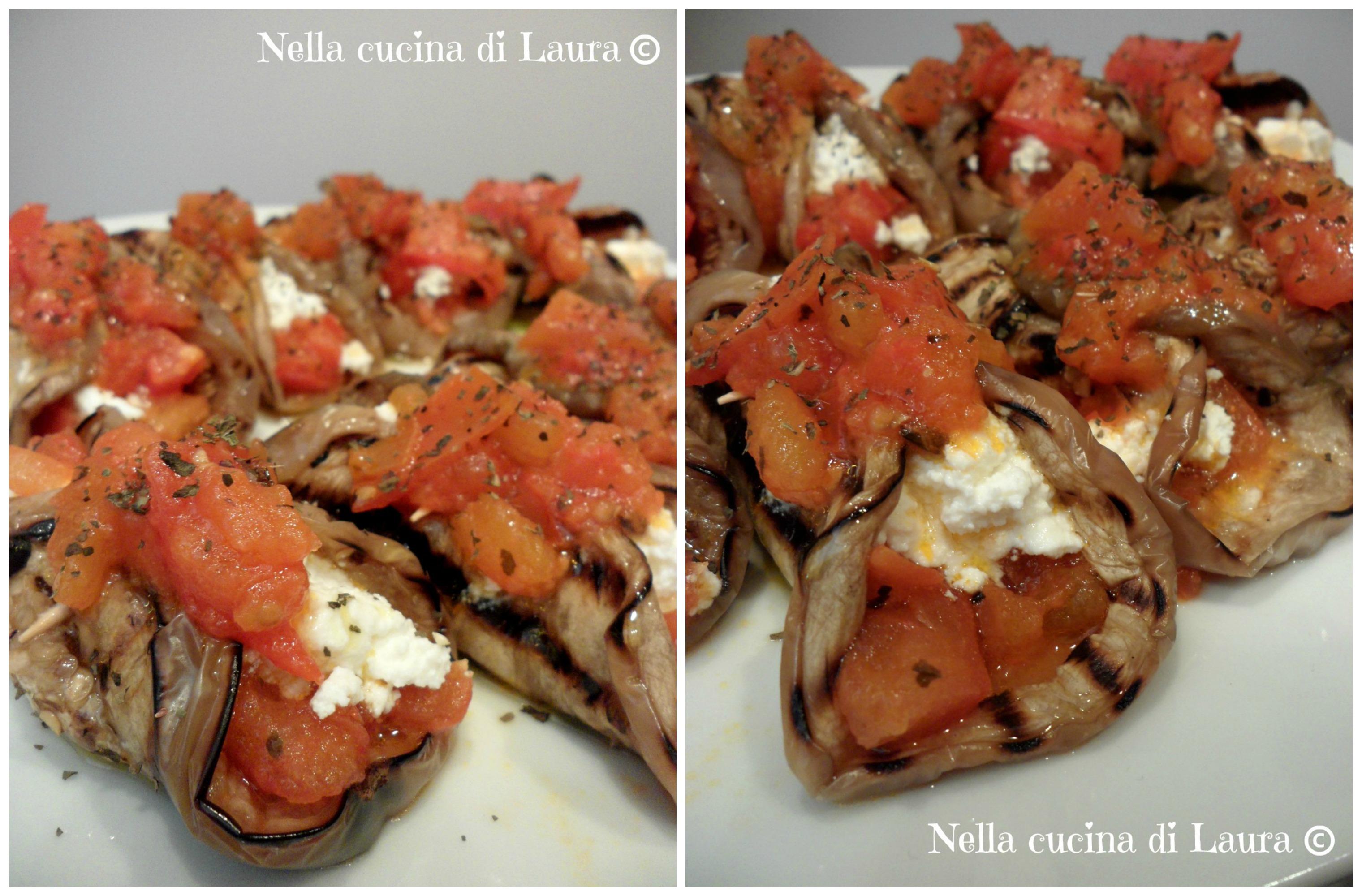 involtini di melanzane con ricotta e pomodori - nella cucina di laura