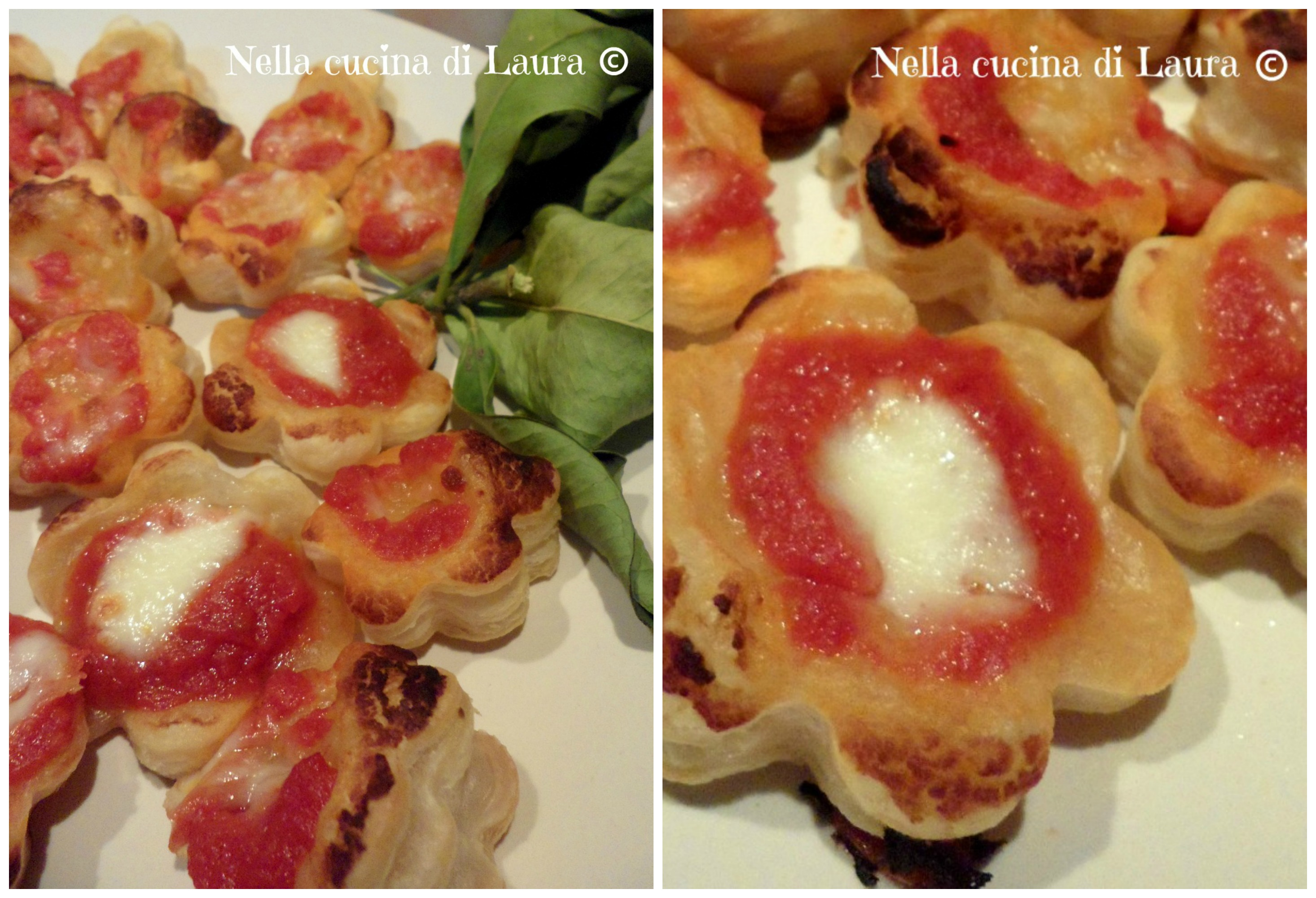 pizzette di sfoglia pomodoro e mozzarella  - nella cucina di laura