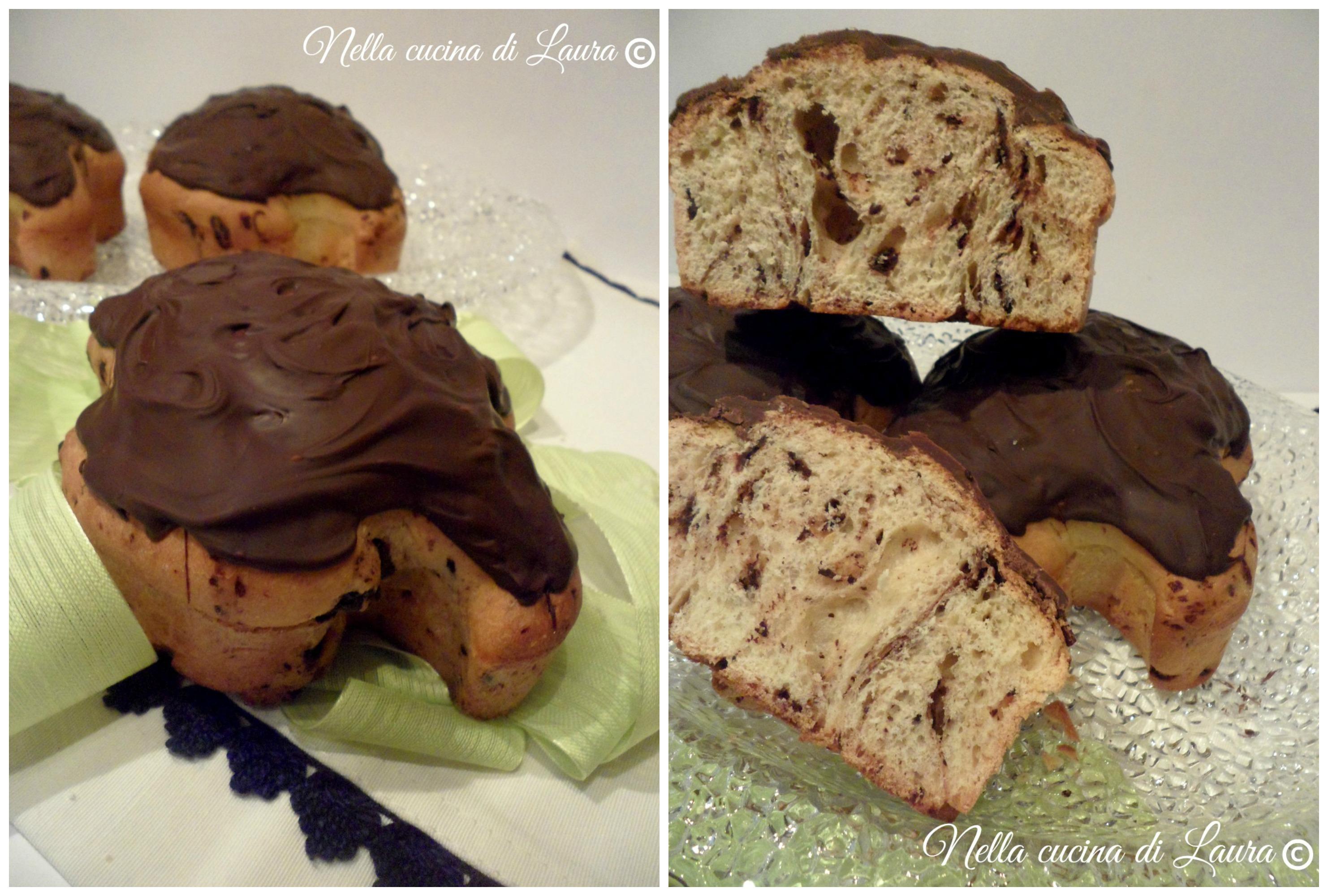 mini colomba di Pasqua con gocce di cioccolato e  lievito madre - nella cucina di laura