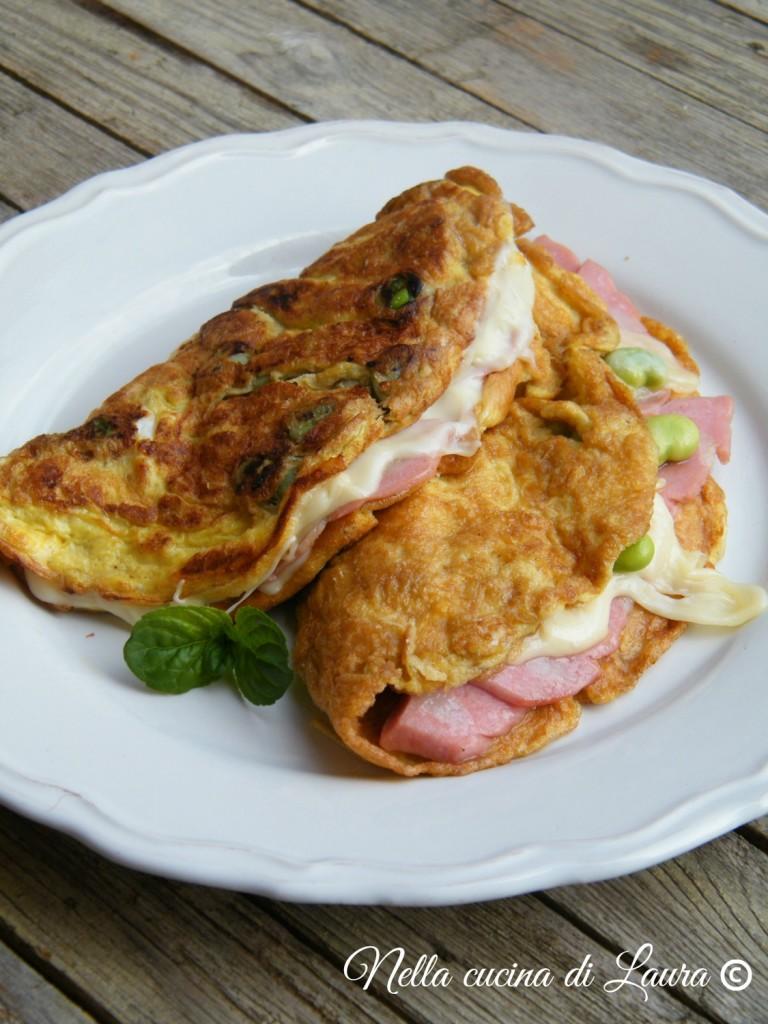 omelette con fave e mortadella di bologna - nella cucina di laura