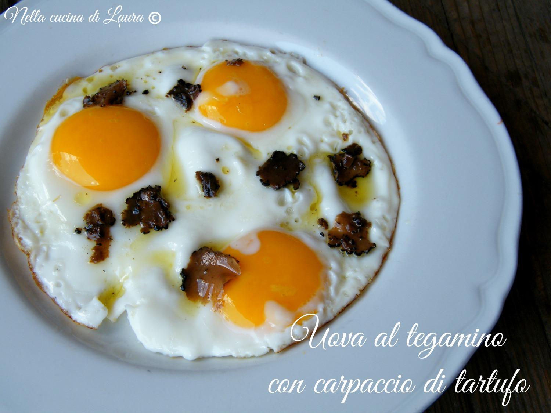 uova al tegamino con carpaccio di tartufo - nella cucina di laura