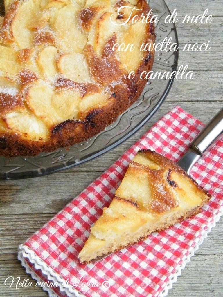 torta di mele con uvetta noci e cannella - nella cucina di laura