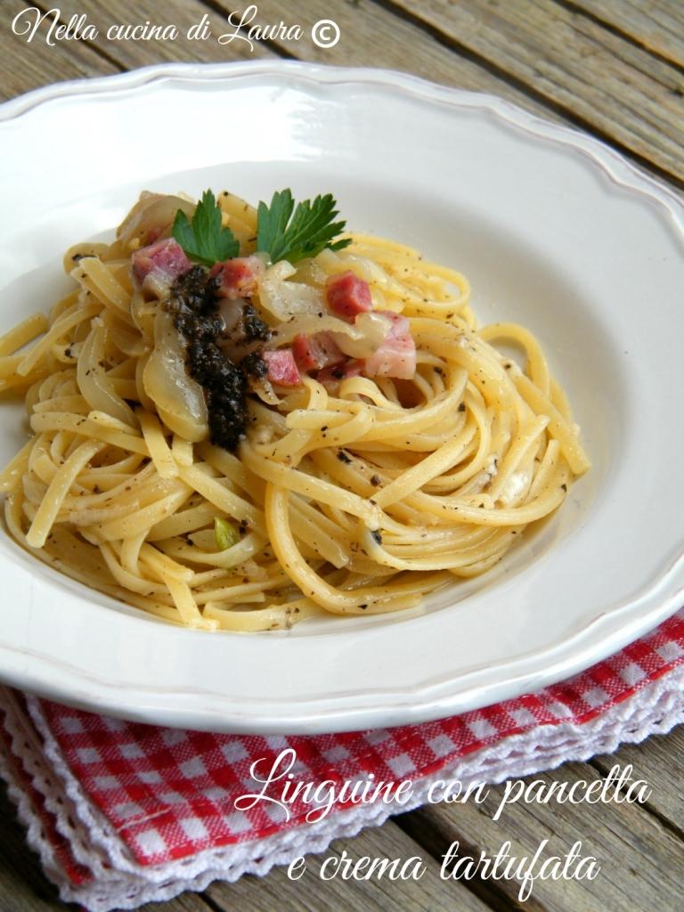 linguine con pancetta e crema tartufata - nella cucina di laura