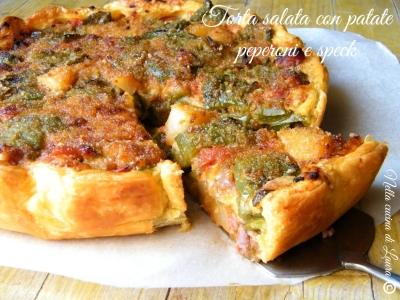 torta salata con patate peperoni e speck - nella cucina di laura