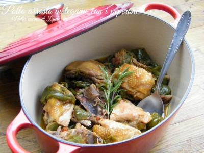 pollo arrosto in tegame con i peperoni - nella cucina di laura