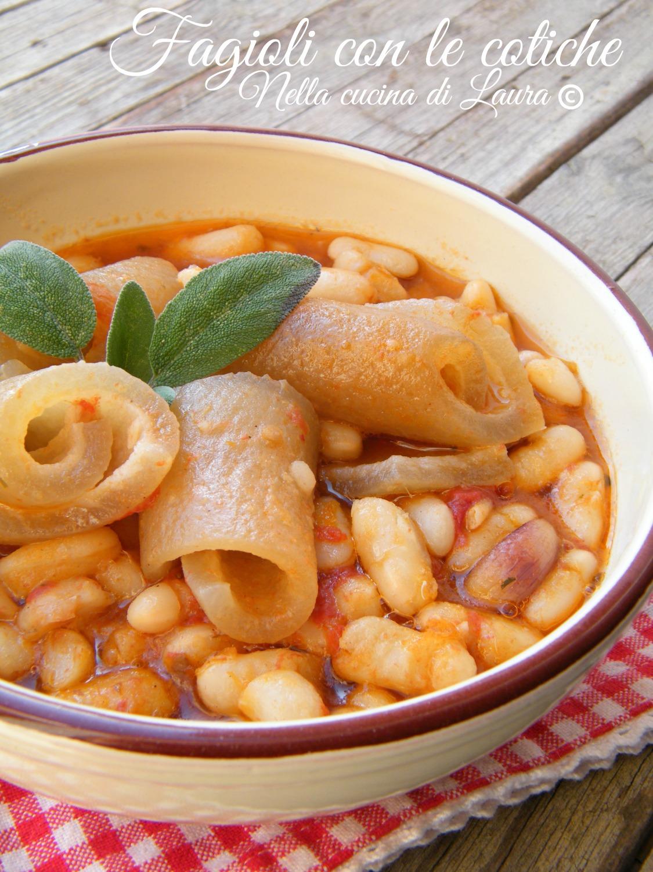 Fagioli con le cotiche for Pasta tipica romana