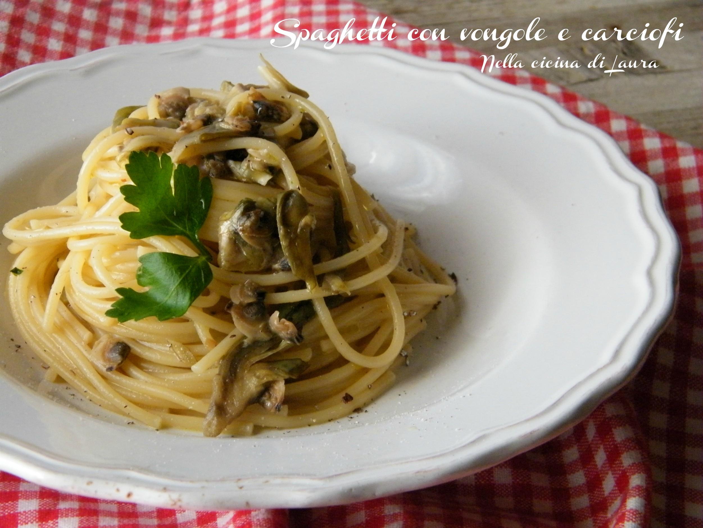 spaghetti con vongole e carciofi - nella cucina di laura (2)
