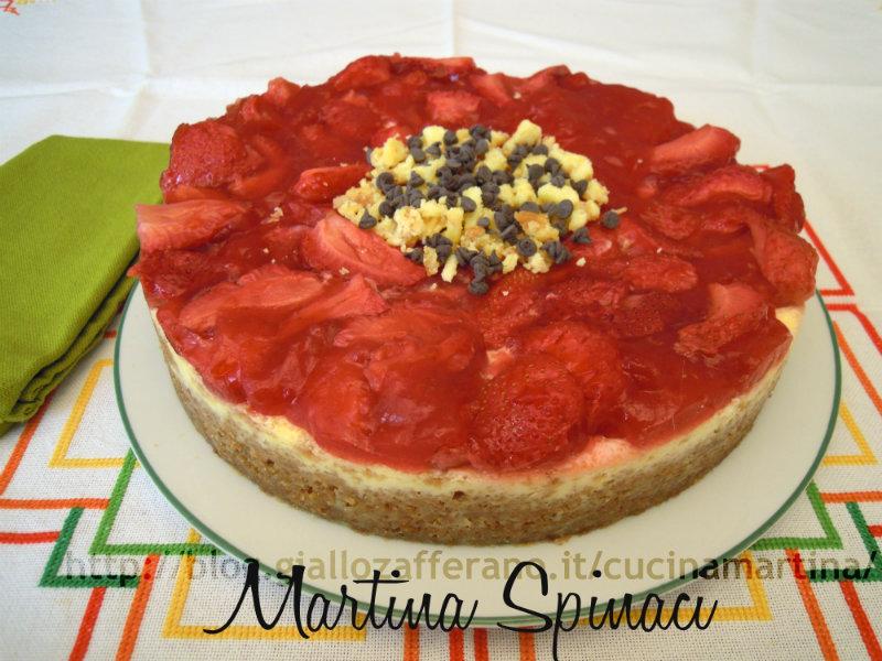 cheesecake alle fragole ricetta dolce nella cucina di martina