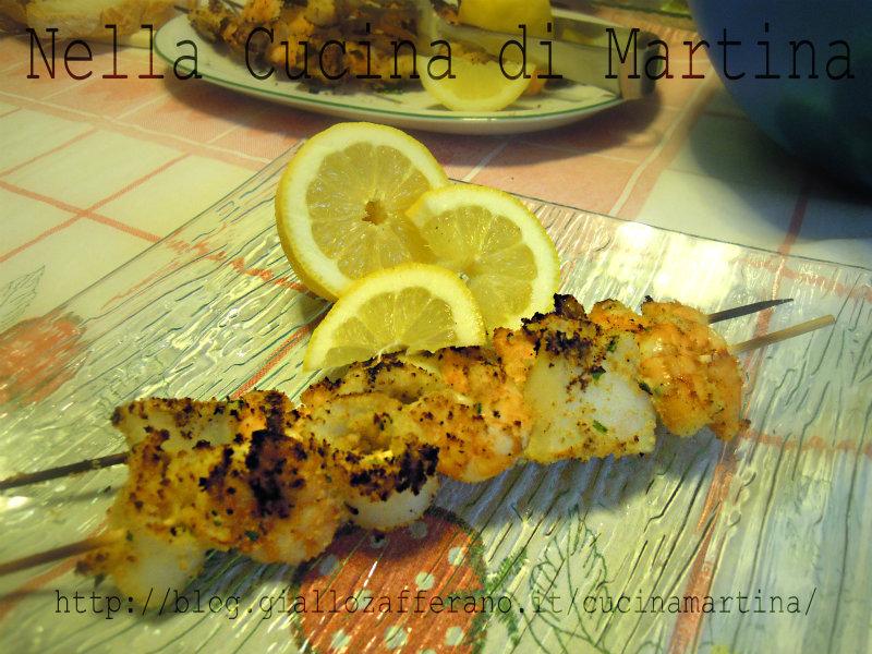 Spiedini di pesce ricetta di mare al barbecue - La cucina di martina ...