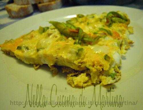 Frittata di zucchine e maasdammer con fiori di zucca, ricetta veloce