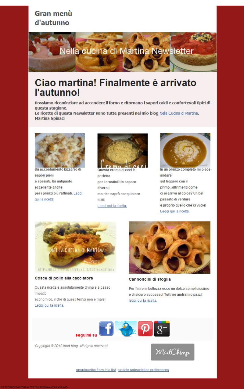 Newsletter ricette nella cucina di Martina iscrizione