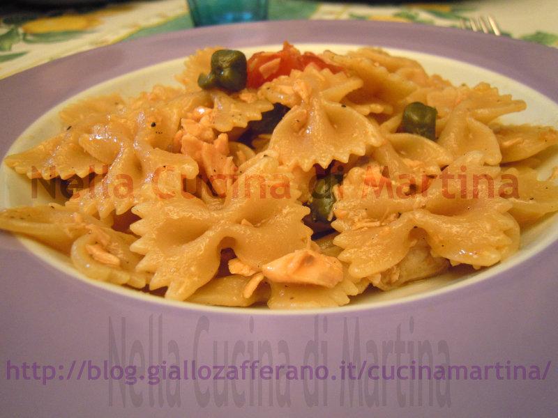 pasta integrale al salmone, ricetta primo piatto di mare nella cucina di martina