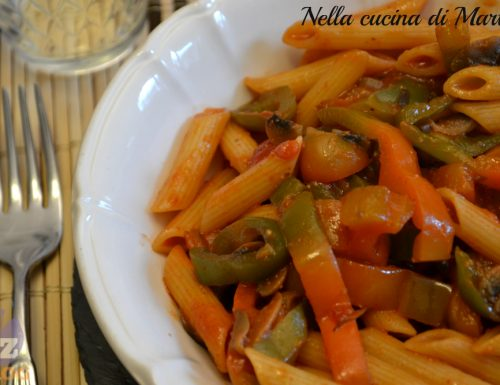 Penne integrali con funghi e peperoni, ricetta vegetariana