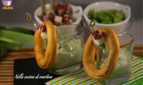 Fave, pecorino e salame con brazatelle, ricetta antipasto