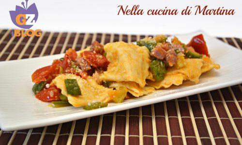 Ravioli di fagioli con zucchine e speck