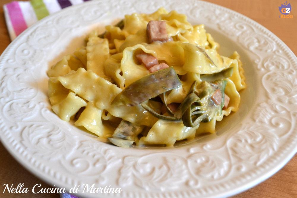 carbonara con praga e carciofi ricetta nella cucina di Martina