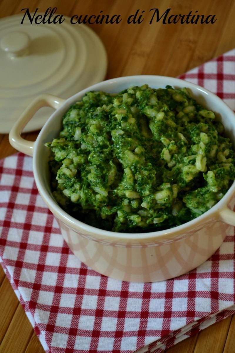 riso con crema di spinaci ricetta nella cucina di martina
