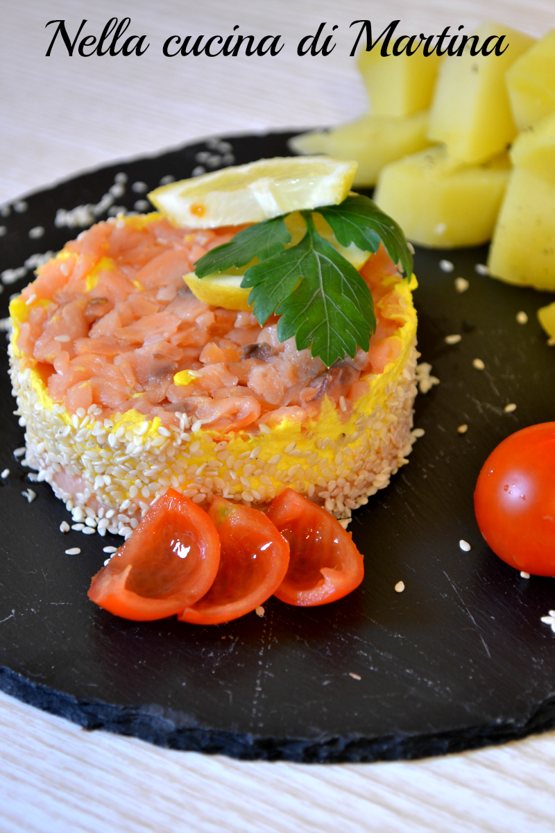 salmone, robiola e sesamo ricetta nella cucina di martina
