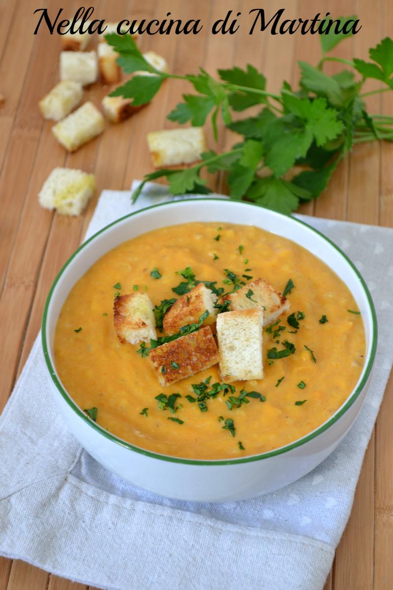 vellutata di carote ricetta nella cucina di Martina