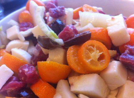 Insalata di kumquat, prosciutto crudo e finocchi