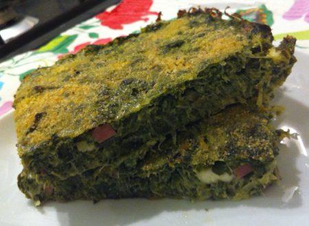 Frittata con spinaci, stracchino e prosciutto