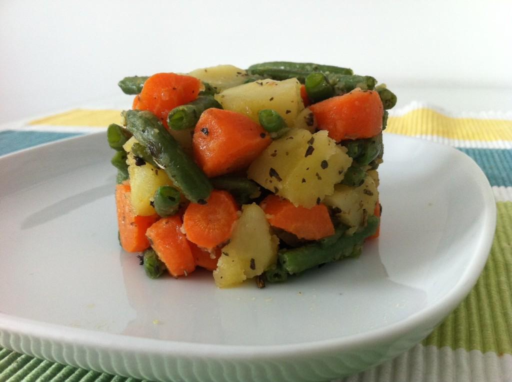 torri di verdure saltate