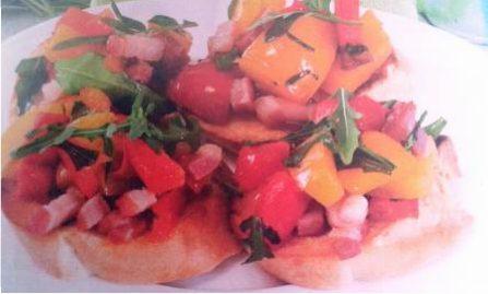 Cucinandoconpassione ricetta: bruschette con peperoni e pancetta