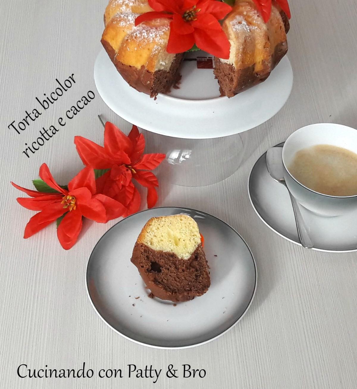 Torta bicolor ricotta e cacao