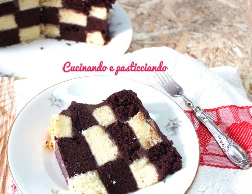Torta a Scacchi con Ganache al cioccolato fondente