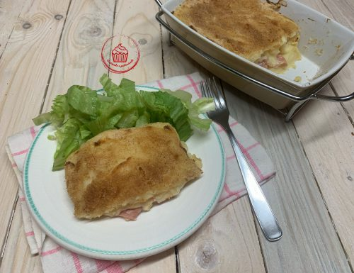 Sformato di purè di patate al forno, con mortadella e provola