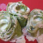 Rondelle di pasta verde al salmone