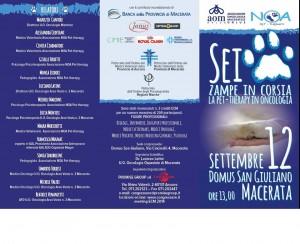 """""""L'associazione.Noa pet therapy di Macerata vi invita a partecipare al convegno riguardante le Pet therapy in oncologia. Convegno aperto a tutti previa iscrizione al sito descritto sulla locandina."""