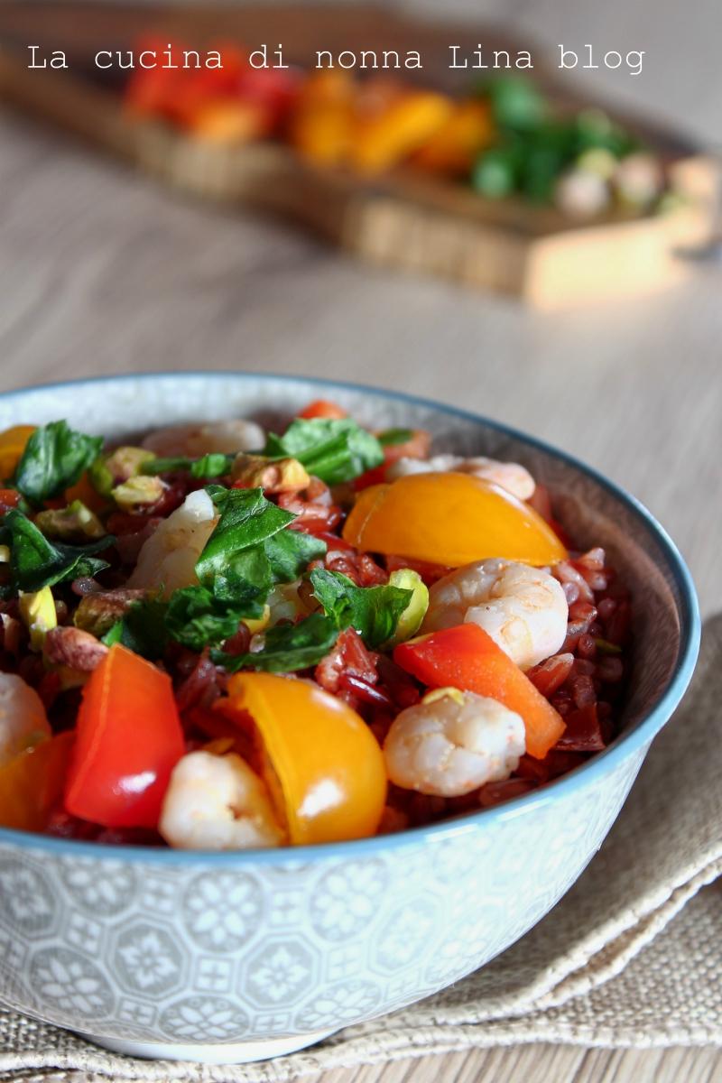 Insalata di riso rosso con gamberetti | La cucina di nonna Lina