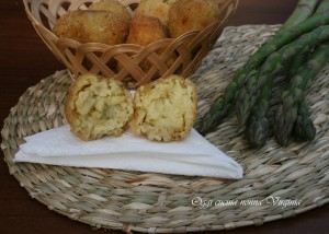 crocchette asparagi e gamberi
