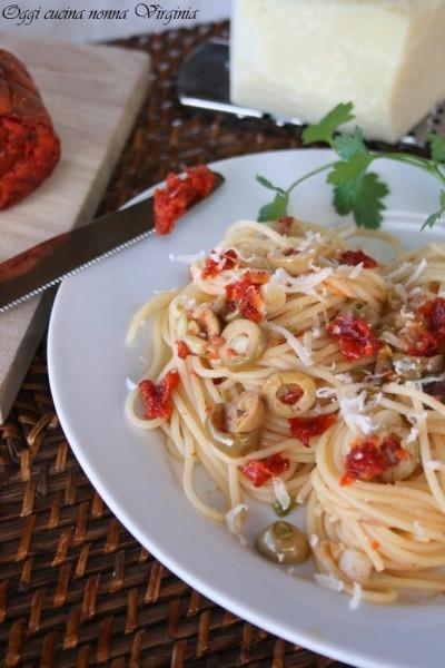 spaghetti 'nduja ed olive,Oggi cucina nonna Virginia