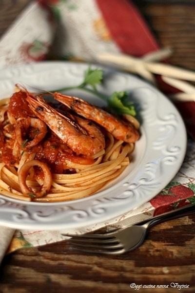 Linguine gamberi e calamari,Oggi cucina nonna Virginia