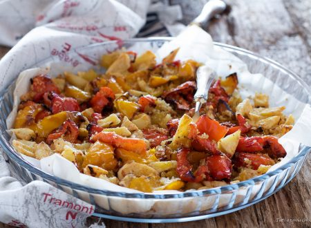 Patate agli aromi gratinate con peperoni