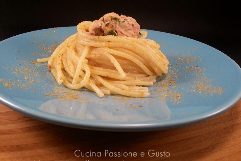 Spaghetti con tonno e bottarga di muggine