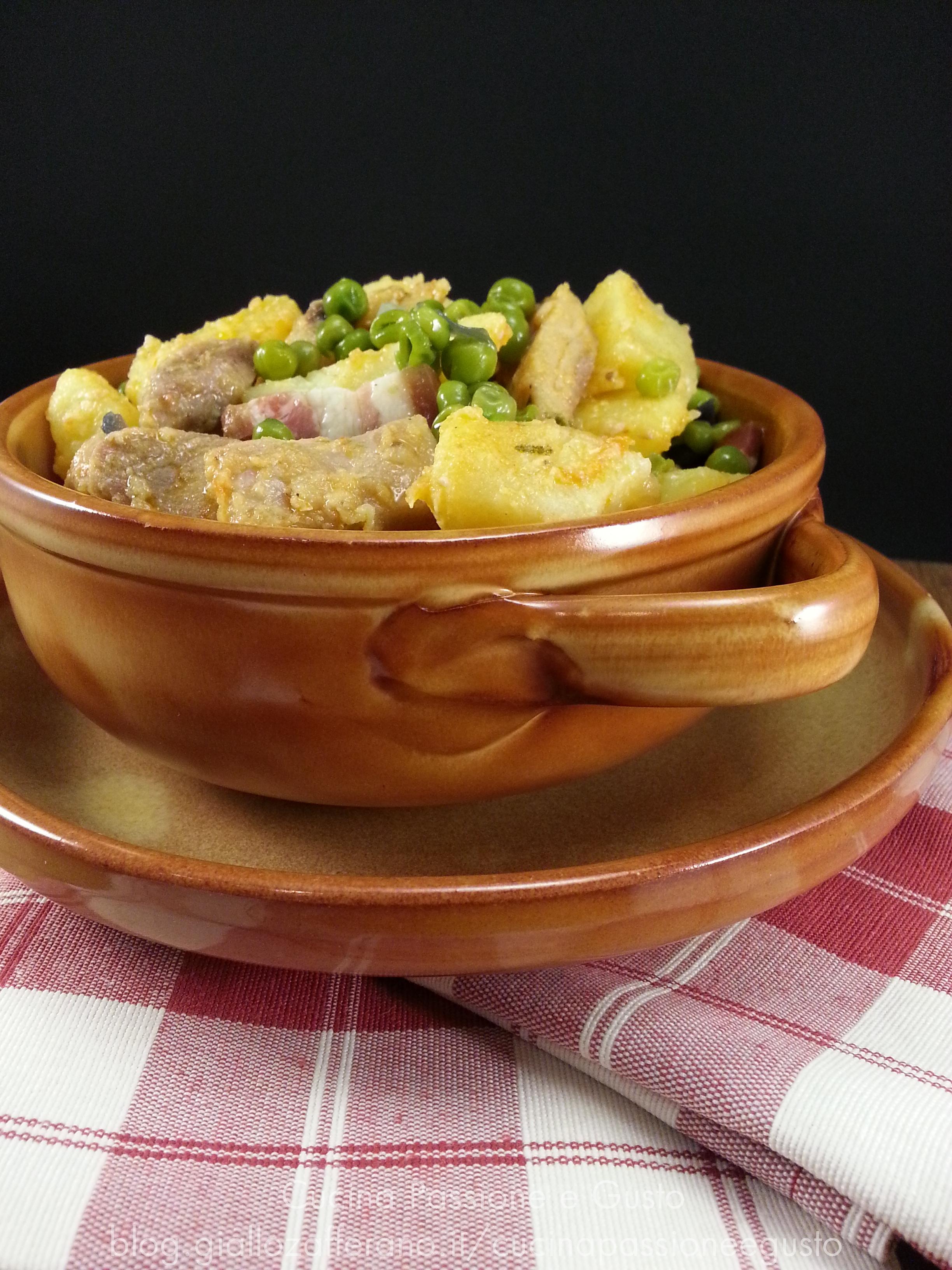 Spezzatino di carne con patate e piselli