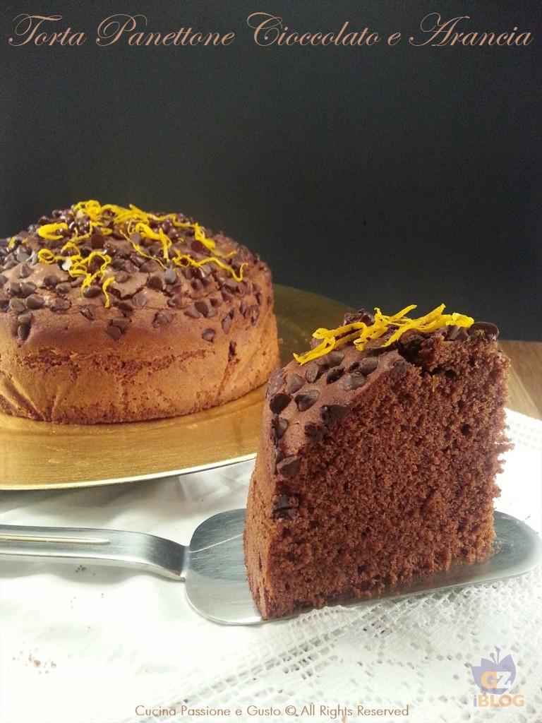 Torta panettone al cioccolato fondente e arancia